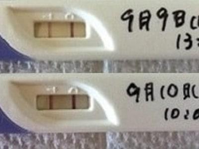 妊娠検査薬の陽性反応見本